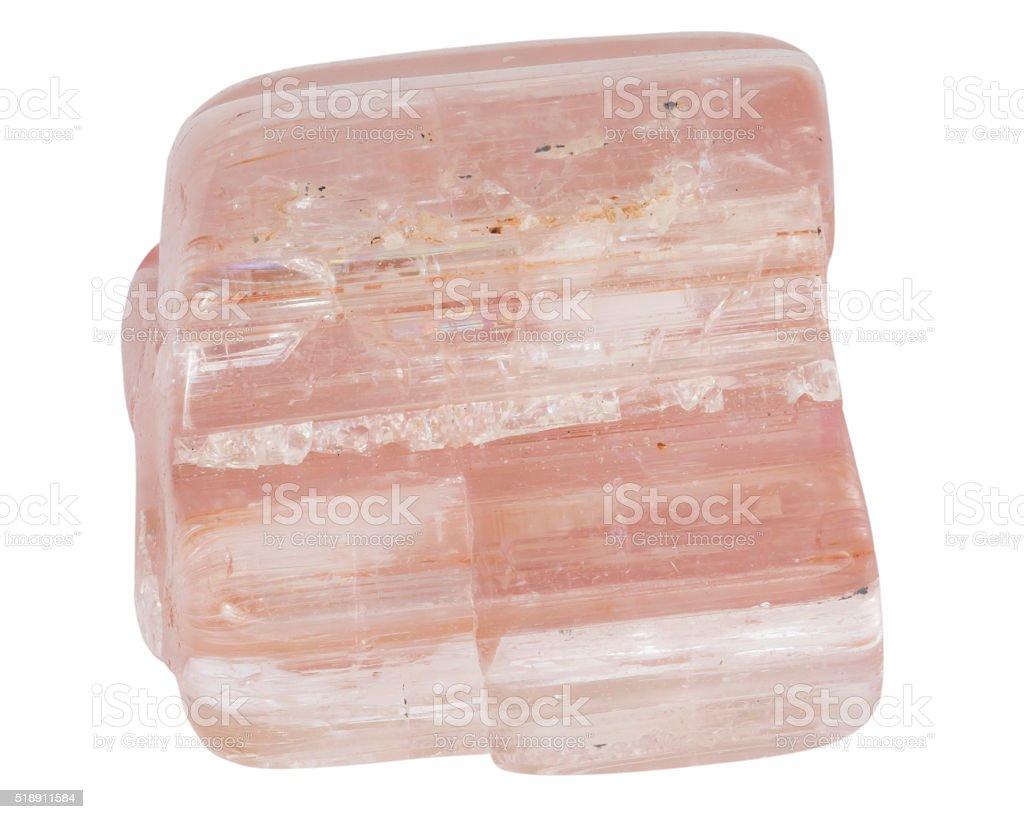 Rose tourmaline crystal macro isolated on white backround stock photo