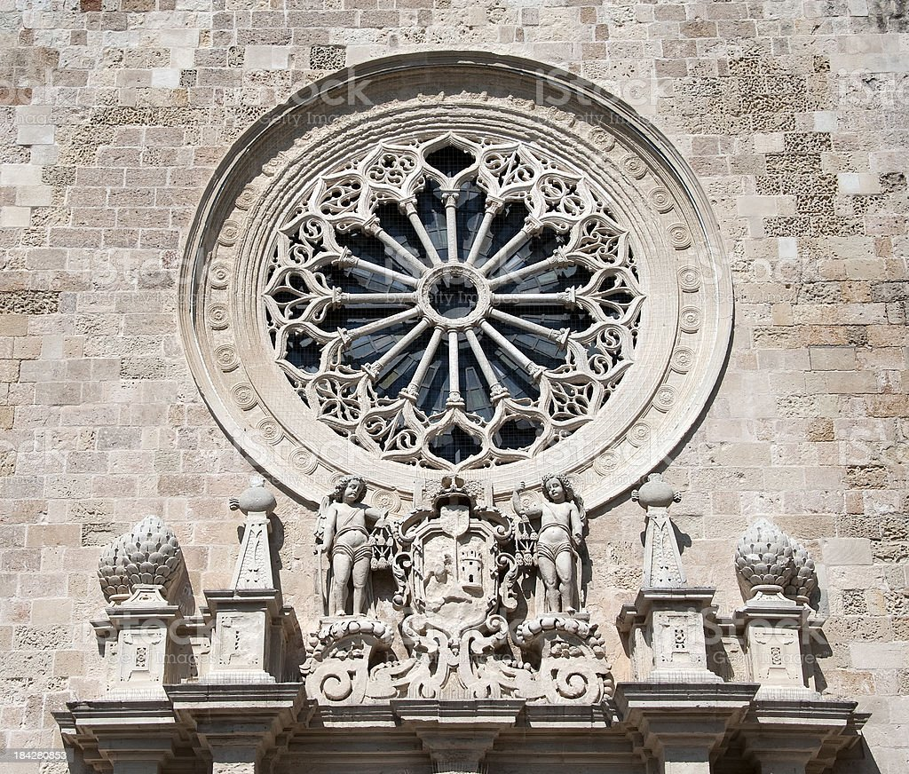 Rose Window and pediment, Cathedral of Otranto. royalty-free stock photo