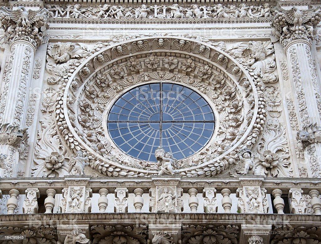 Rose Window, Basilica di Santa Croce, Lecce – Italy royalty-free stock photo