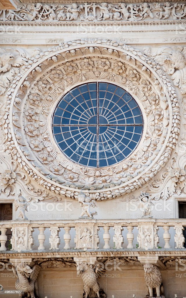 Rose Window, Basilica di Santa Croce, Lecce – Italy stock photo