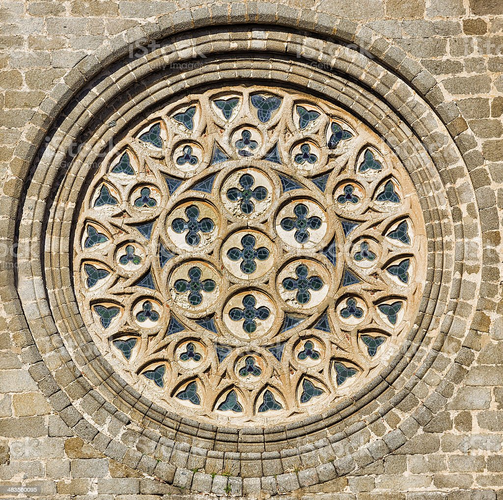 Rose window. Cathedral of Avila. royalty-free stock photo