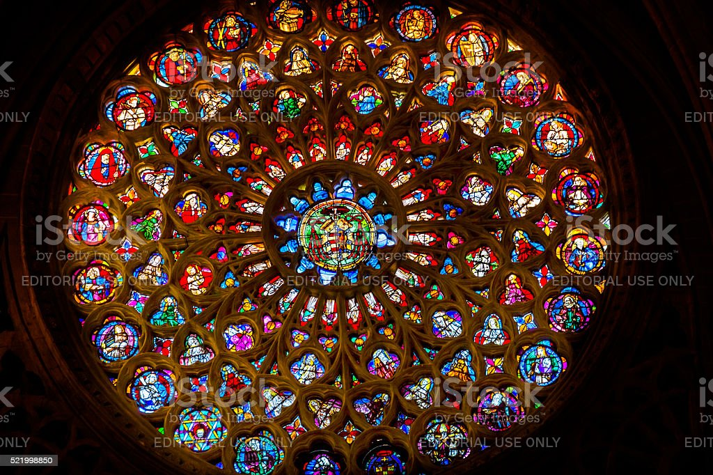 Rose Window Coat Arms Stained Glass Cathedral Toledo Spain stock photo