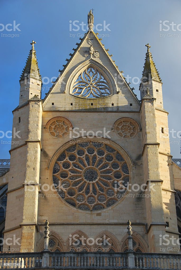 Rose window in Leon cathedral stock photo
