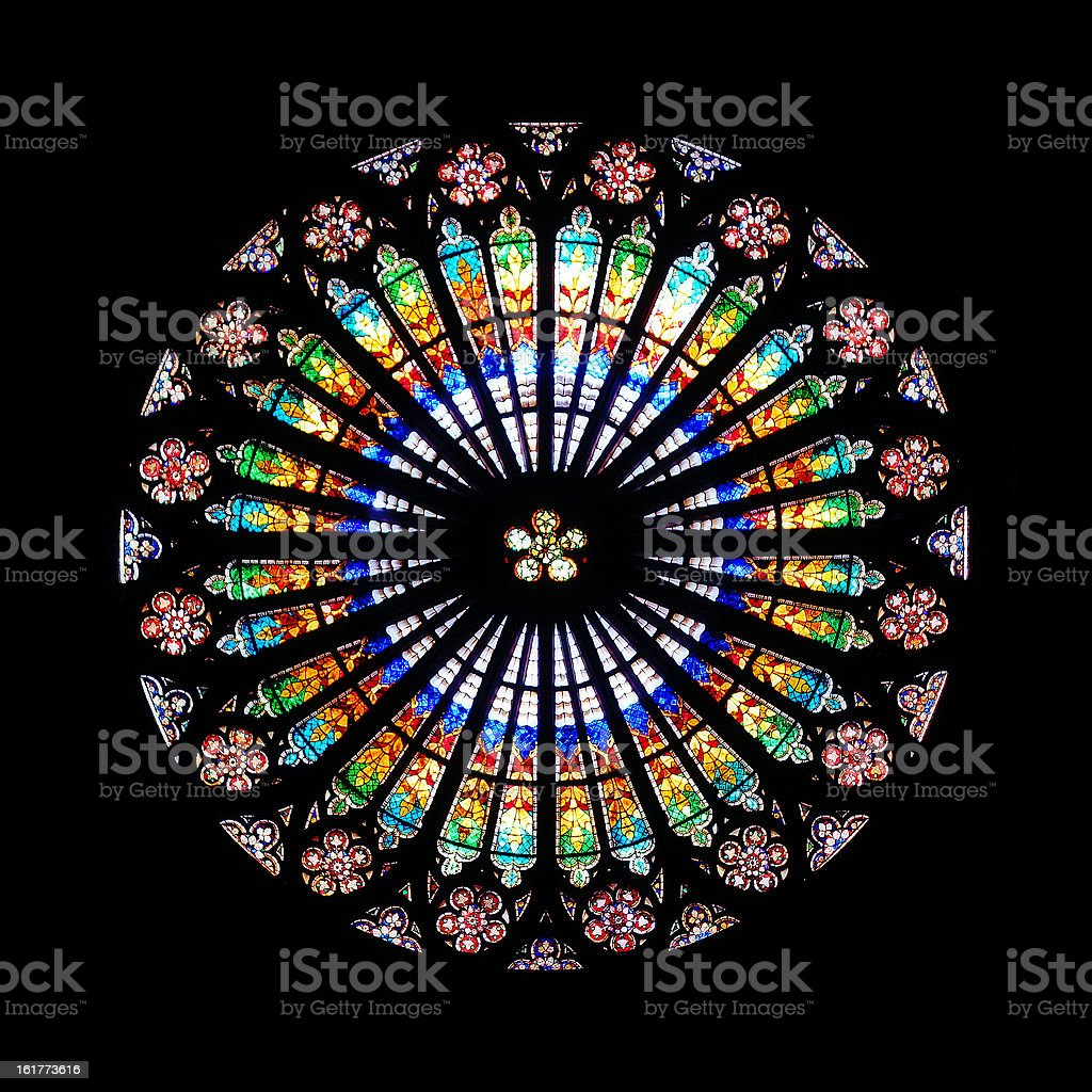 Rose window in Strasbourg Cathedral royalty-free stock photo