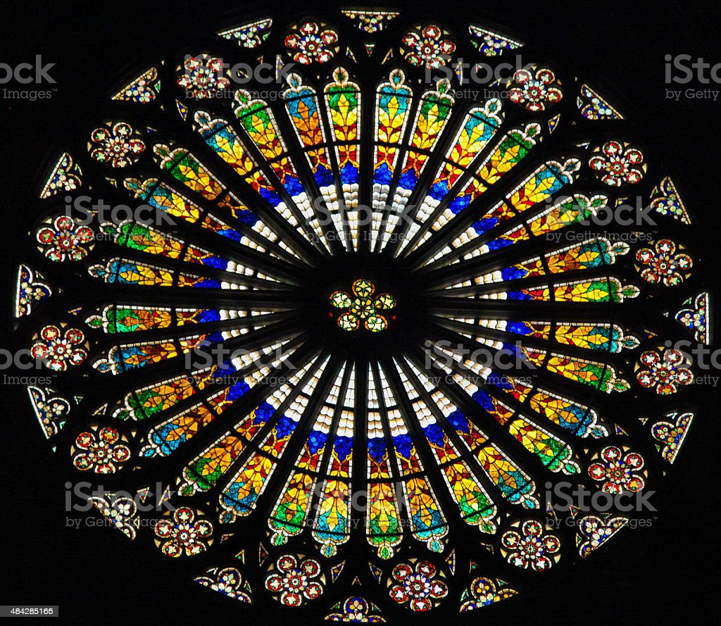 Rose window in Strasbourg Cathedral stock photo