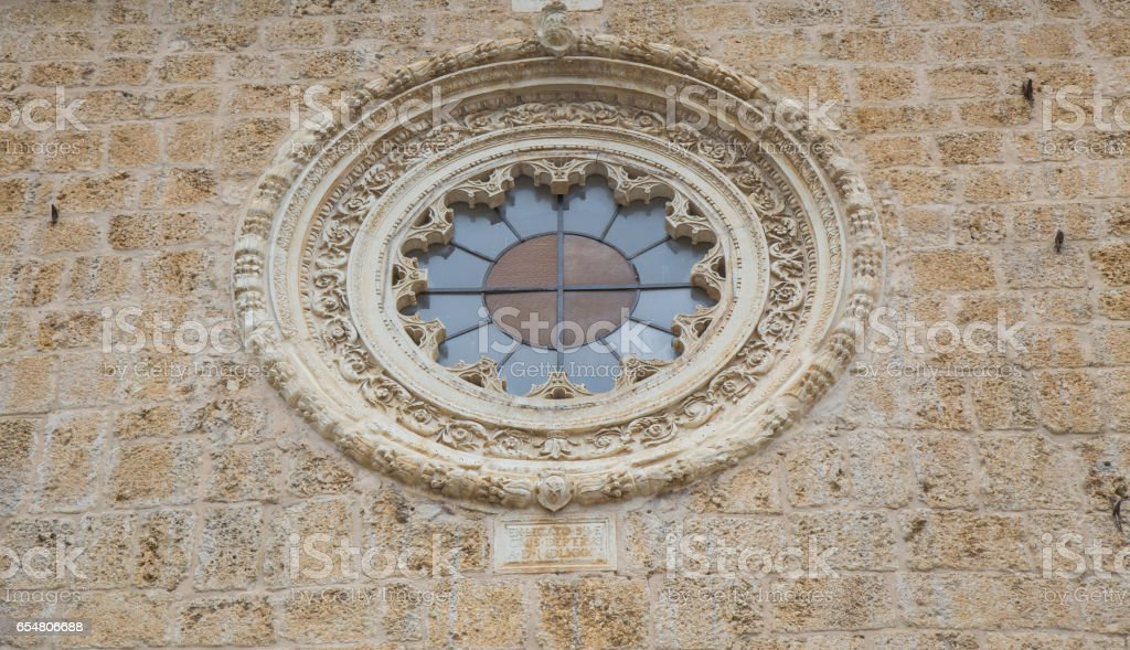 Rose window of a church stock photo