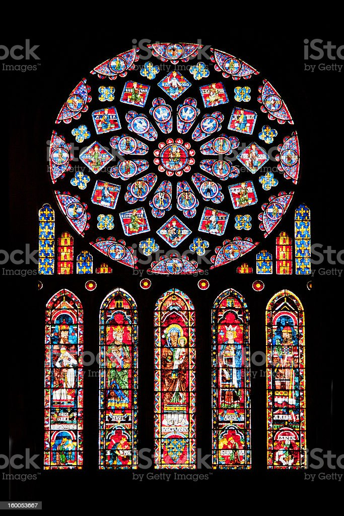 Rose window of Chartres cathedral stock photo