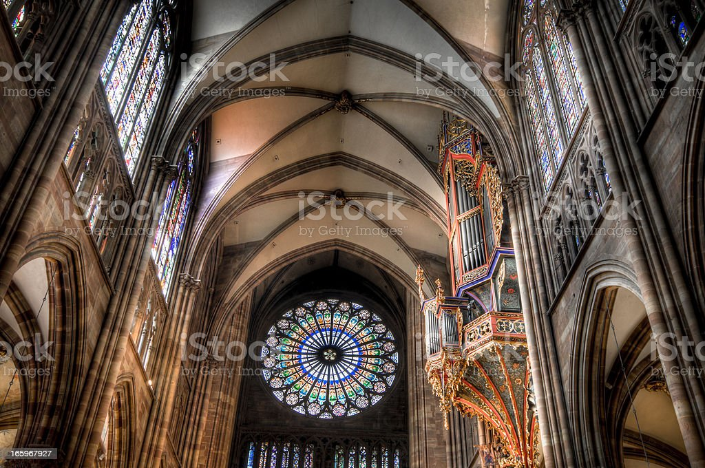 Rose window of the Strasbourg Cathedral, France royalty-free stock photo