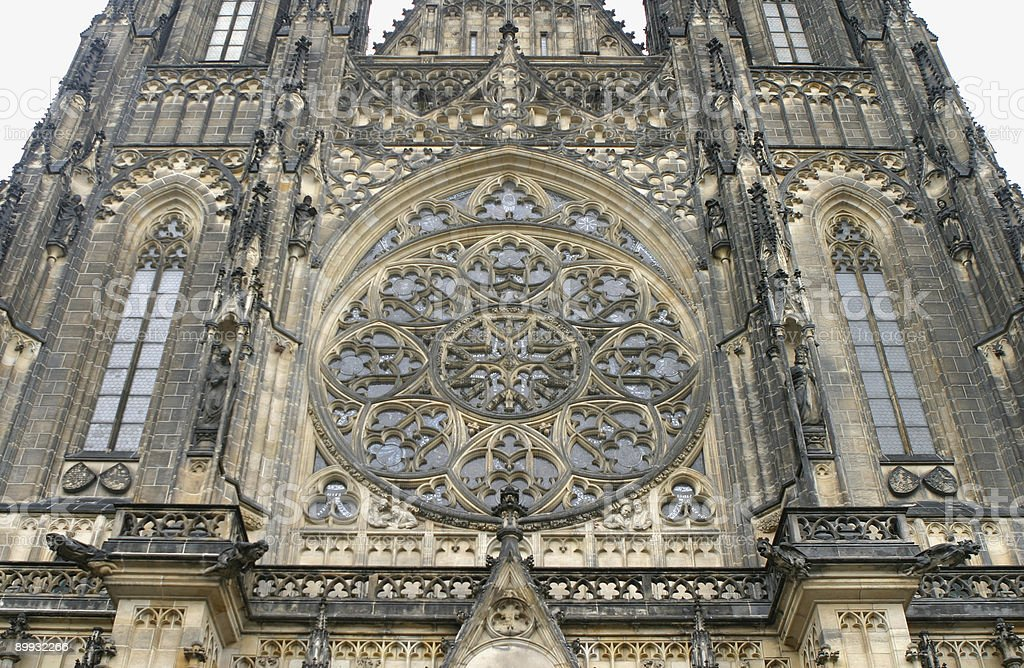 Rose Window, St. Vitus' Cathedral, Prague, Czech Republic royalty-free stock photo