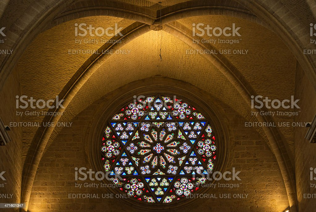 Rose Window, Valencia Cathedral stock photo
