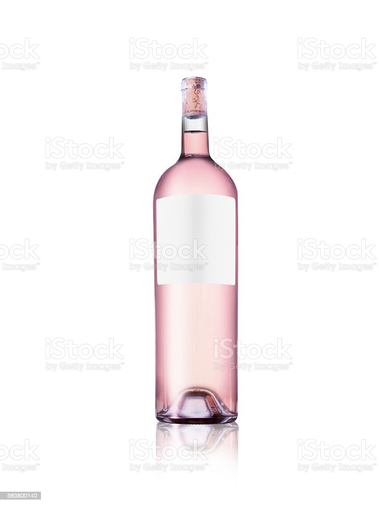 Rose wine bottle with blank label isolated on white background stock photo