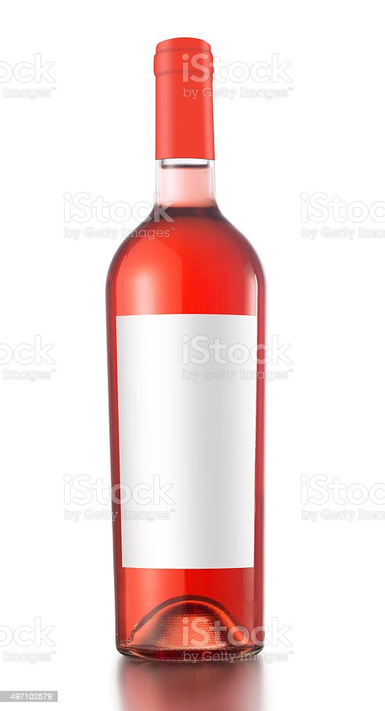 Rose wine bottle with blank label isolated on white background.