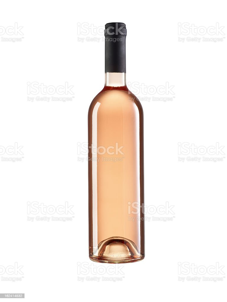 rose wine bottle without label stock photo