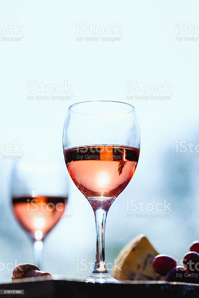 rose wine cheese and grapes stock photo