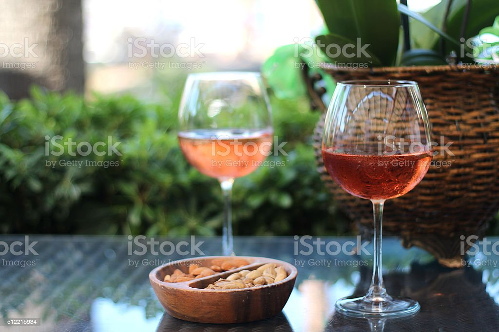 rose wine with nuts stock photo