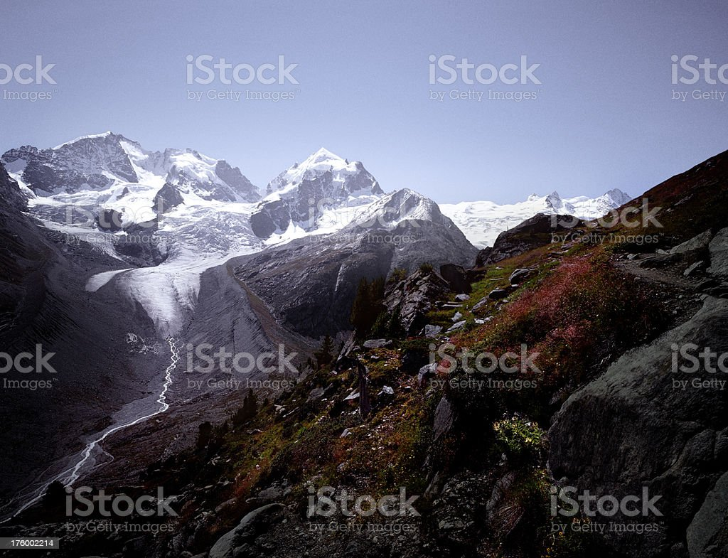Roseg glacier, Sella Mountains, Switzerland. royalty-free stock photo