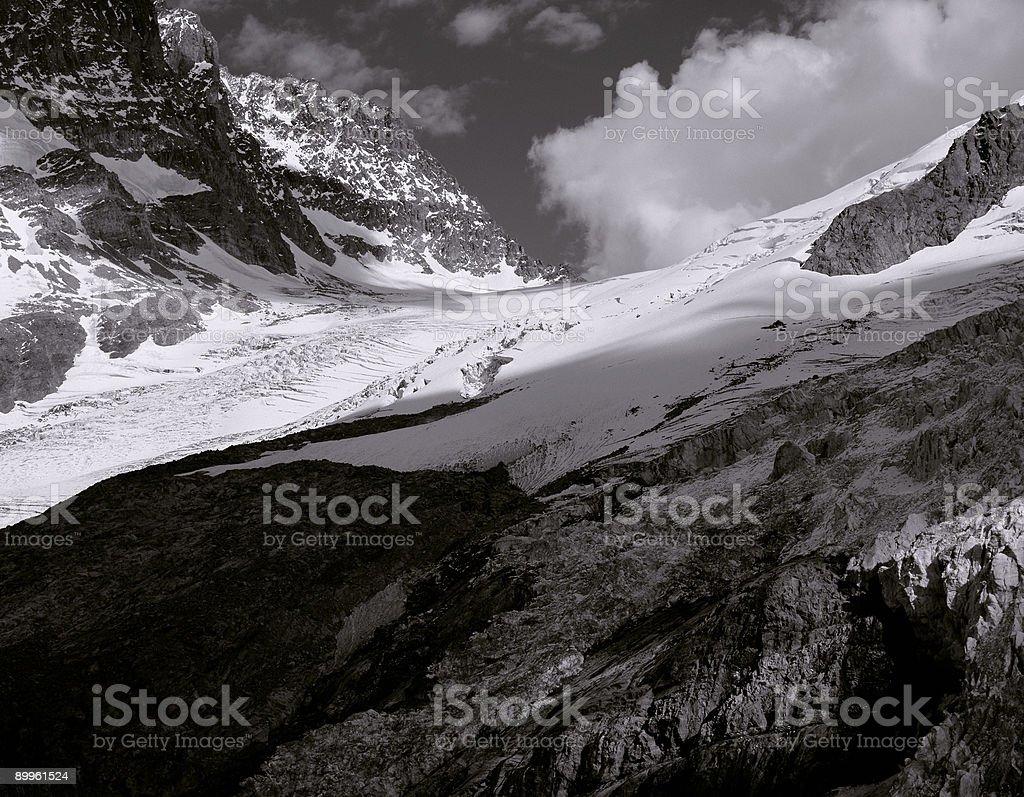 Roseg glacier, Sella Mountains, Switzerland. stock photo