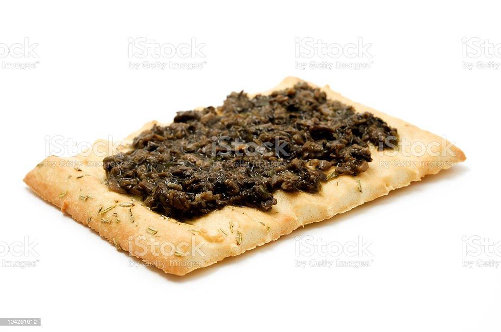 Rosemary bread with truffle cream stock photo