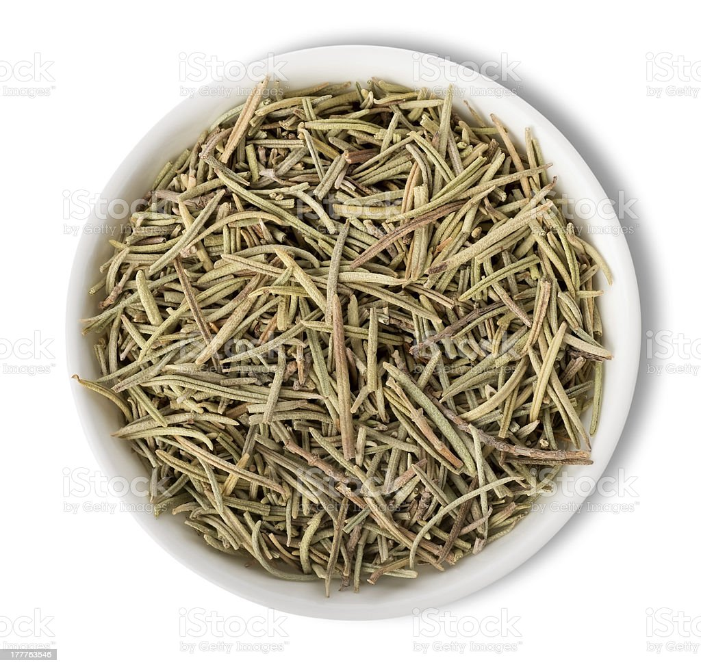 Rosemary in plate isolated stock photo