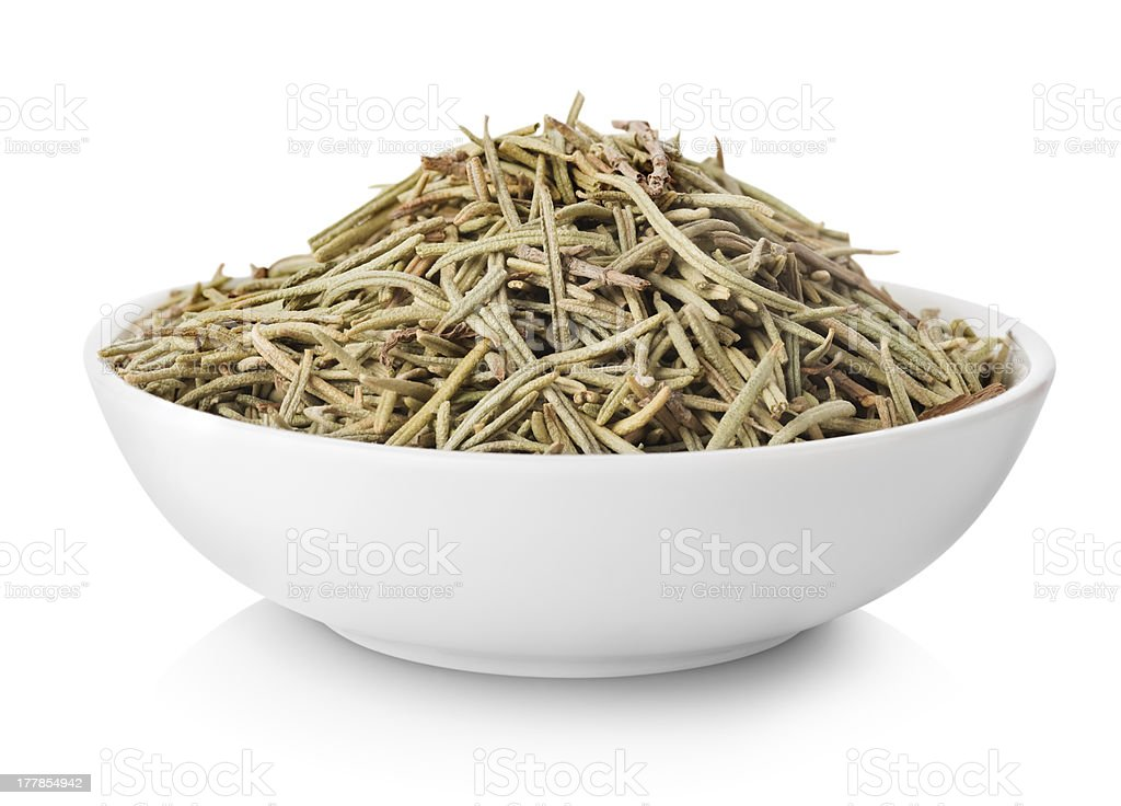 Rosemary in plate stock photo