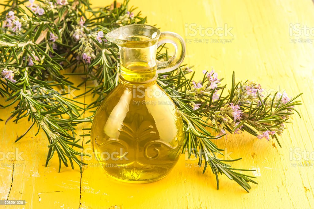 Rosemary infused olive oil stock photo