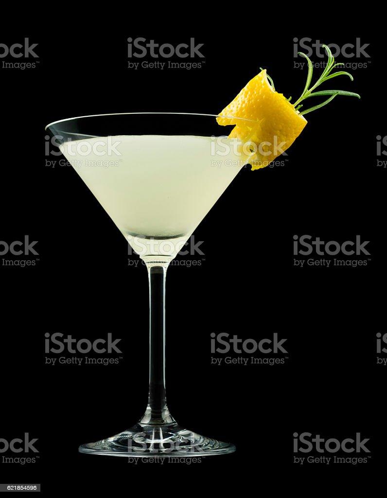 Rosemary Lemontini cocktail isolated on black stock photo