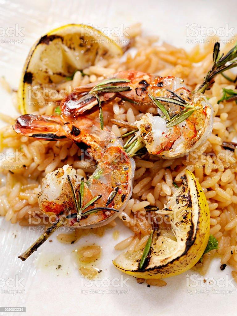 BBQ Rosemary Shrimp Skewers stock photo