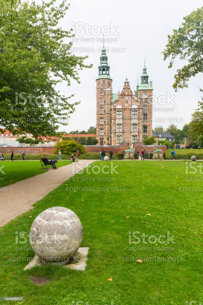 Rosenborg Castle and Park in Copenhagen On A Gray Day stock photo
