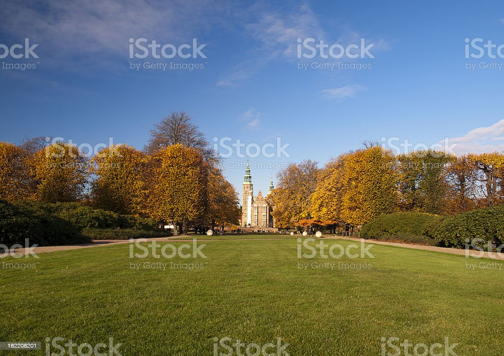 Rosenborg Castle at autumn stock photo