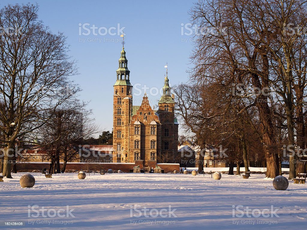 Rosenborg Castle at winter stock photo