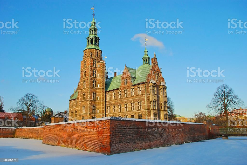 Rosenborg castle with the snow stock photo