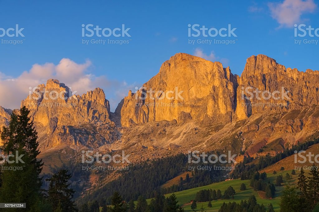 Rosengarten group in Dolomites stock photo