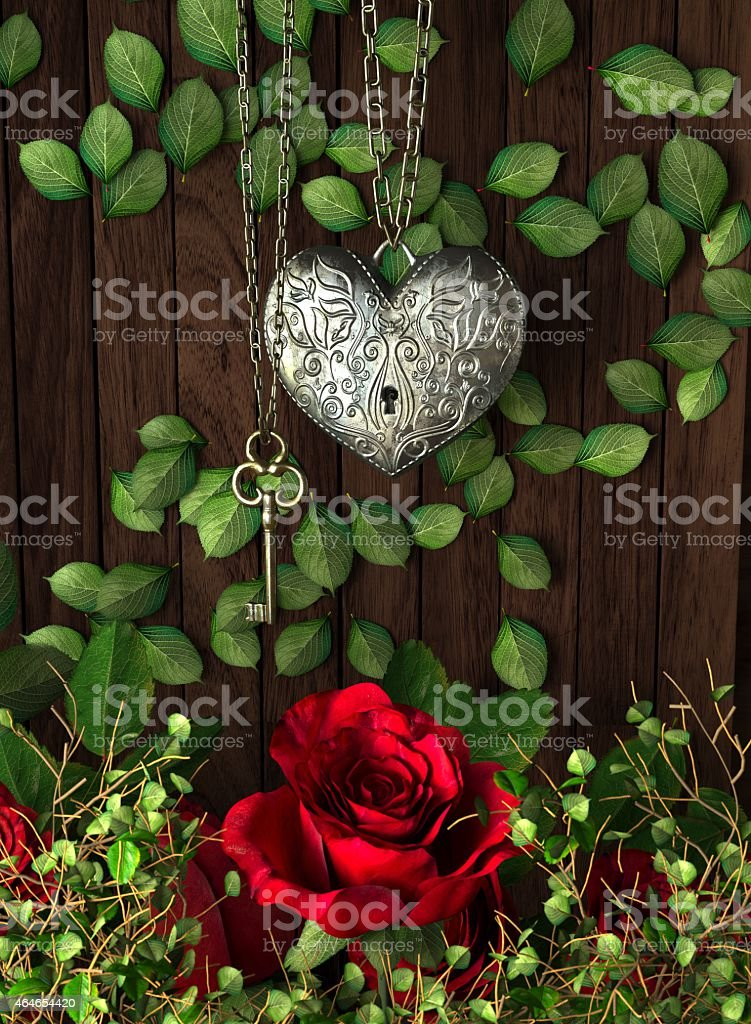 Roses and a heart with key on wooden board stock photo