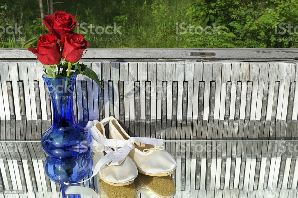Roses and Ballet Slippers, Piano Keyboard Background, Outdoors royalty-free stock photo