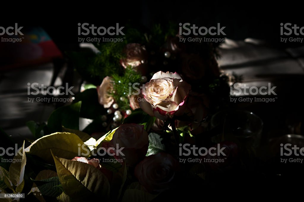 roses and bouquets for the bride stock photo