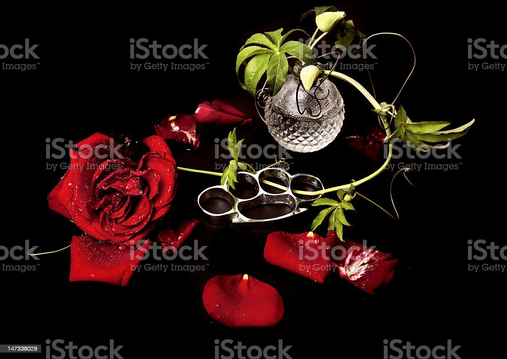 Roses and Brass knuckles royalty-free stock photo