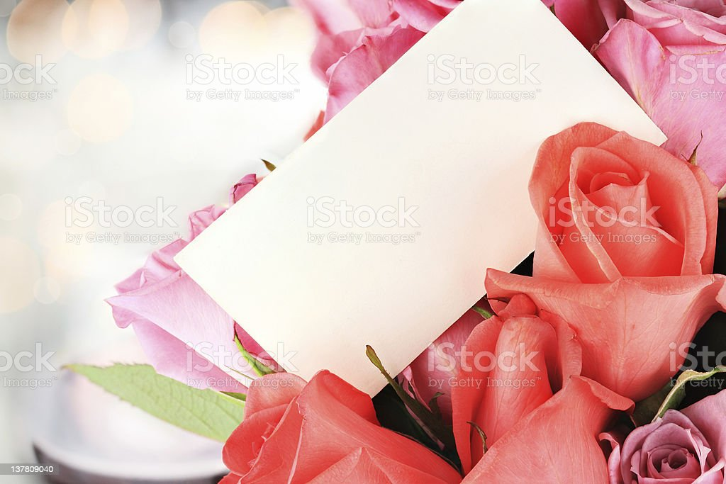 Roses and Card stock photo