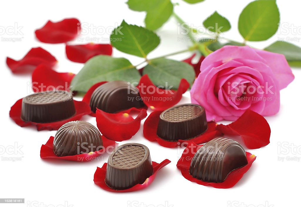 Roses and chocolates royalty-free stock photo