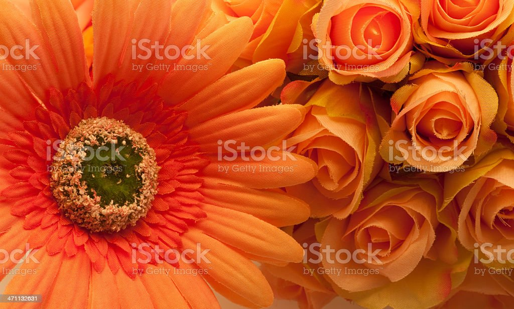 Roses and Gerbera Daisy, Orange Flowers, Warm Tone, Bouquet royalty-free stock photo