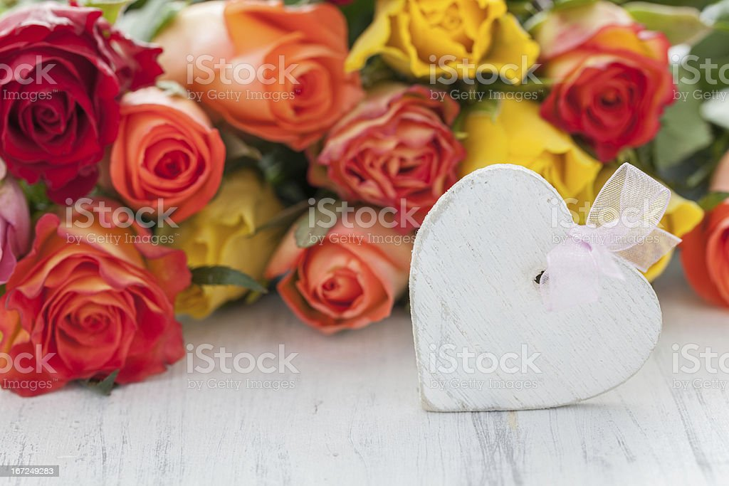 roses and heart stock photo