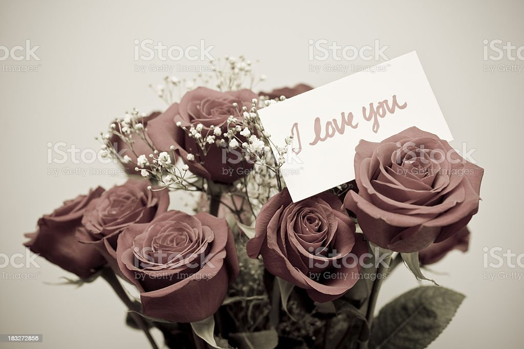 Roses and I love you card royalty-free stock photo