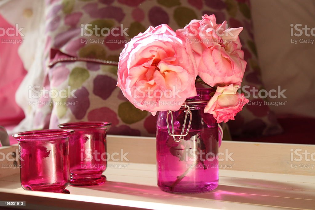 Roses and pink pots royalty-free stock photo