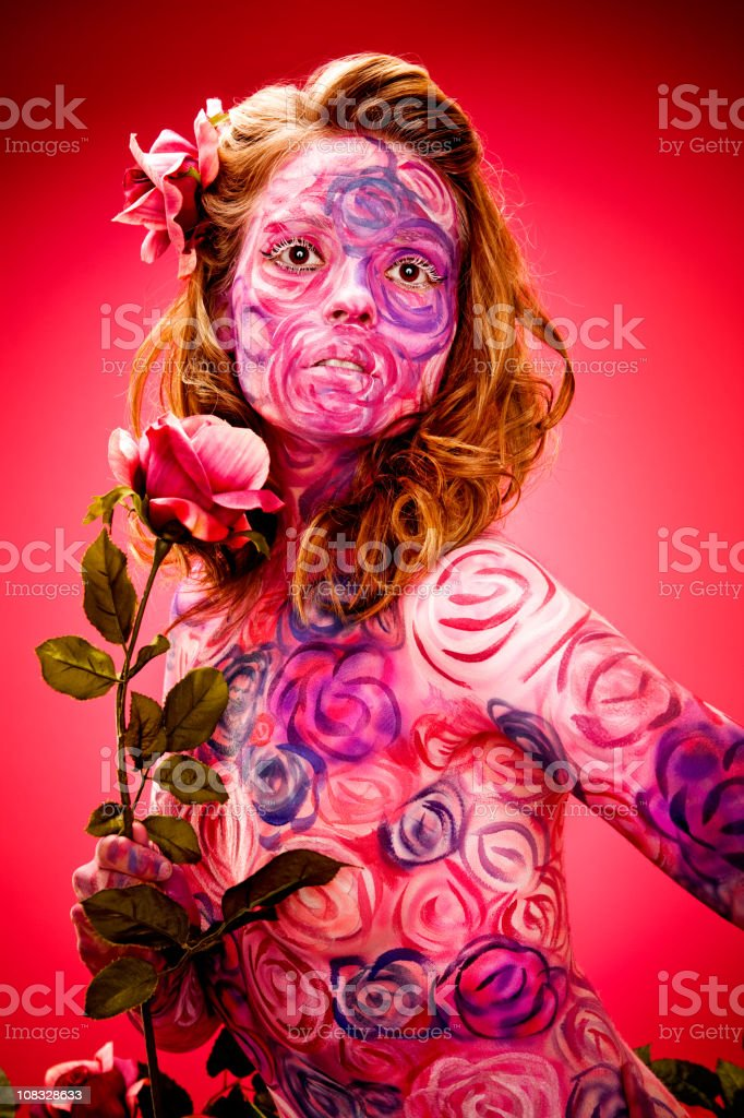 Roses Face and Body Paint: Beautiful Portrait royalty-free stock photo
