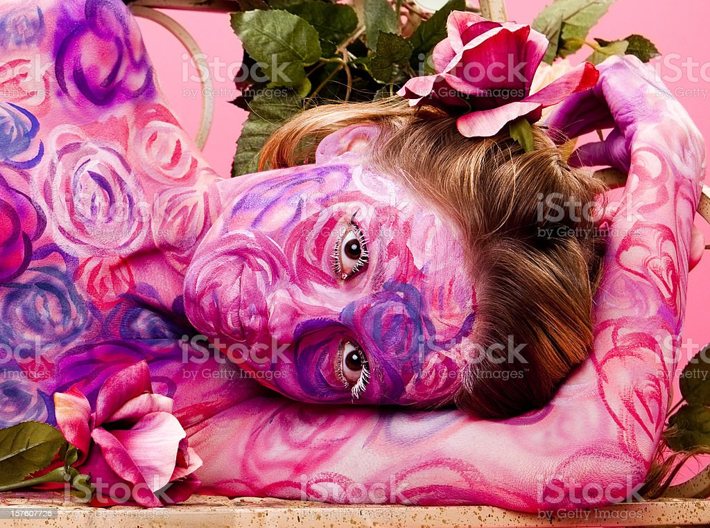 Roses Face and Body Paint royalty-free stock photo