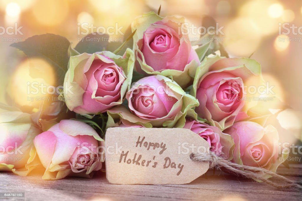 Roses for a happy mothers day stock photo