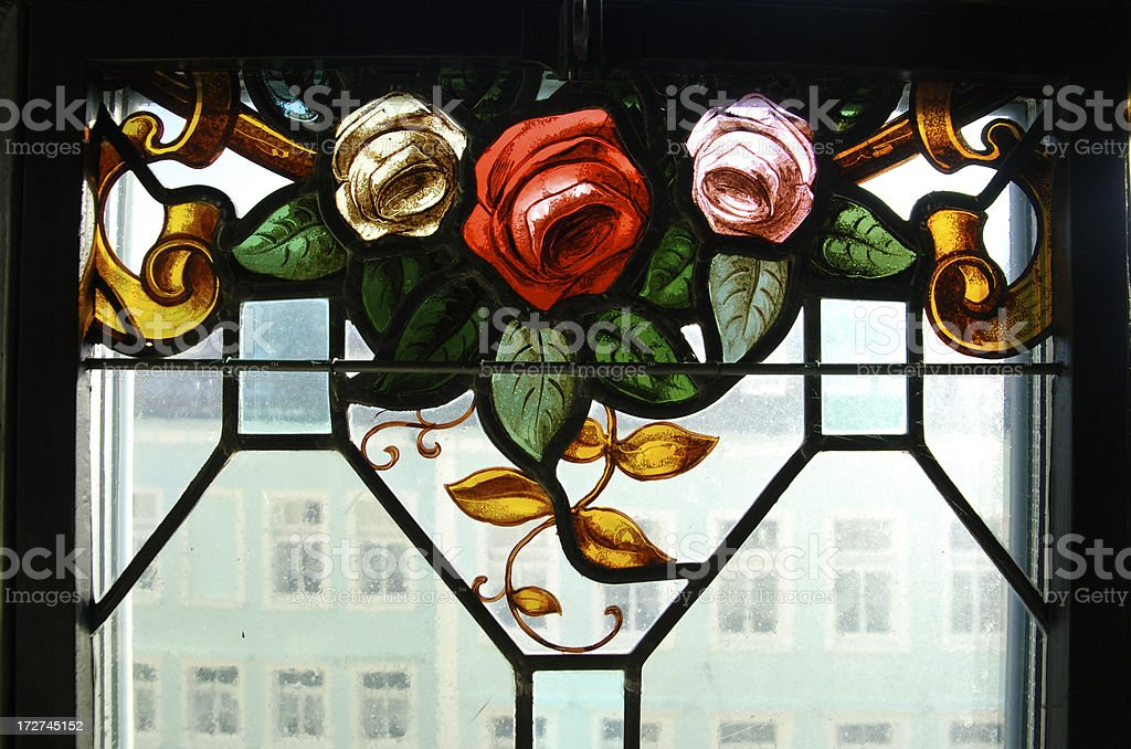 roses in stained glass stock photo
