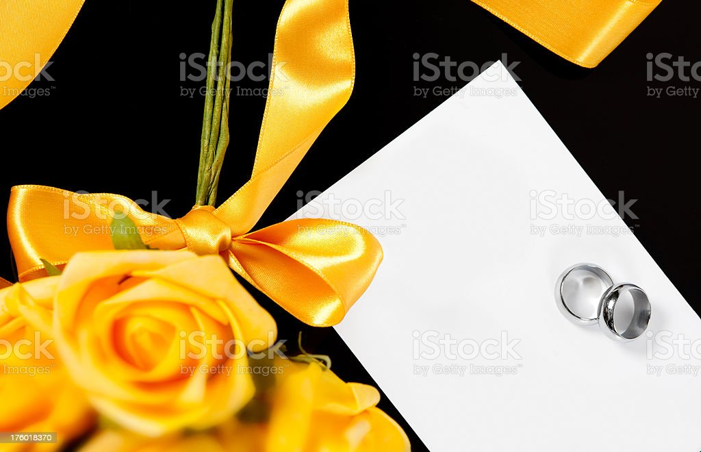 Roses, wedding rings and blank invitation royalty-free stock photo