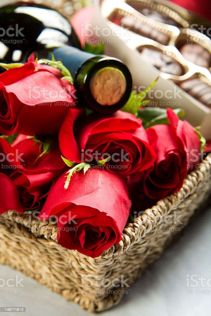Roses, Wine and Chocolates royalty-free stock photo