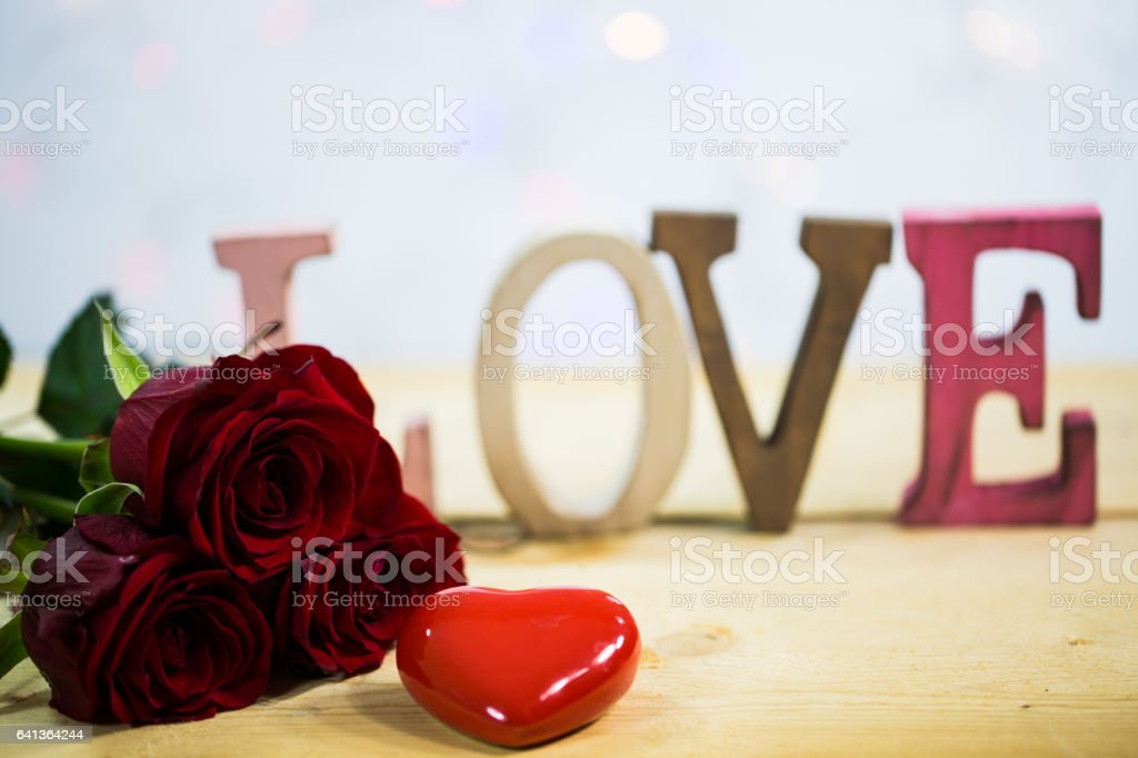 Roses with a heart - valentine, wedding, Love,text stock photo