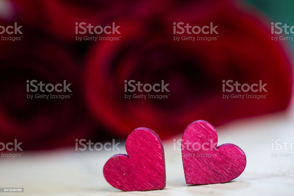 Roses with a heart - valentine, wedding stock photo